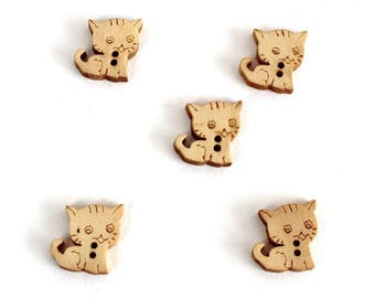 15 wooden cat kitten 17mm shape buttons