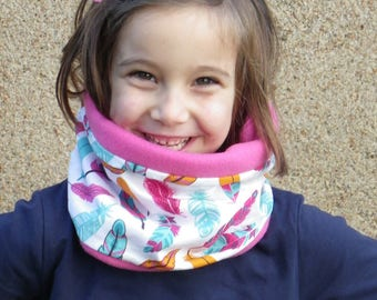 """Snood girl child cotton tube scarf """"feathers"""" and matching Fuchsia fleece"""