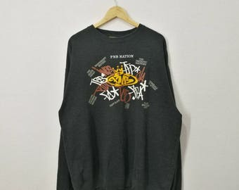 RARE!! PNB Nation Spell out Embroidery Graffiti Front And Back Sweatshirt Jumper Pullover Sweater