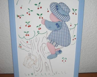 Frame for child / pattern in blue cotton