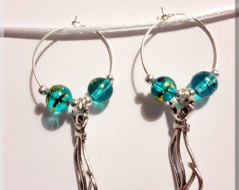 Blue Gold beads and silver cat earrings