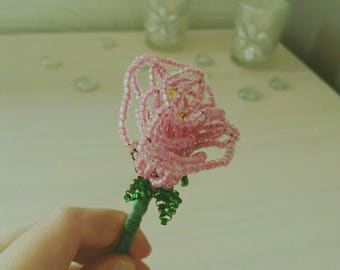 Bookmark in the shape of pink seed beads