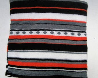Cushion cover knitted in stripes and circles, grey, white, black and orange colors, closed by pressure, gift for her, gift for him