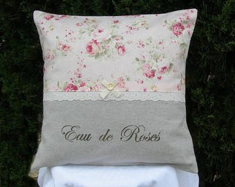 Taupe shabby chic and romantic linen pillow with old roses and painted words