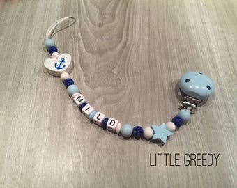 Pacifier clip personalized anchor color blue and white