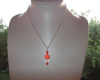 Necklace glass beads and orange Crystal