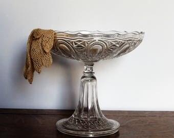 Compotier coupe à fruits en verre à bord évasé décoration mariage élégant vintage shabby chic