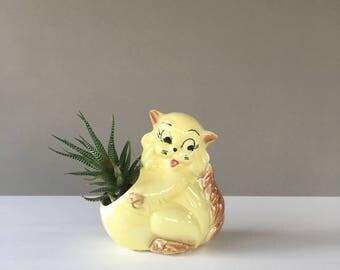Vintage Cat Planter, Vintage Flower Pot, Succulent Planter, Cactus Planter, Ceramic Planter, Yellow Planter, Kitchy Planter, Vintage Cat