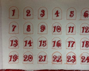 Embroidered for advent calendar numbers
