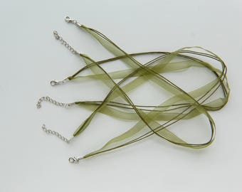 set of 3 green organza Ribbon cord necklaces