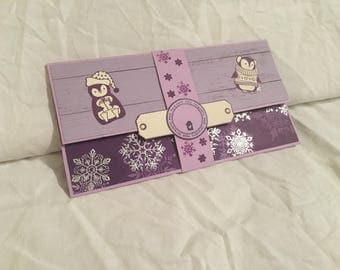 Christmas gift card holder check scrapbooking