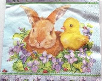 20 napkins - Bunny CHICK Ladybug VIOLETS REF. 3275