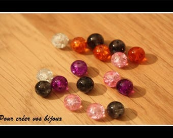 Set of 10 8mm glass beads in different colors