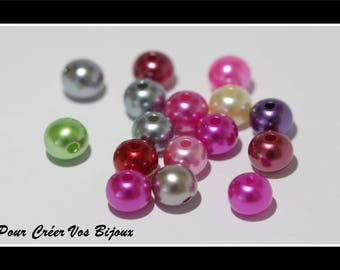 Set of 50 multicolored 8mm acrylic beads