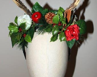 "headband/headdress ""Christmas deer horns/wood"" pastoral, medieval, fantasy"