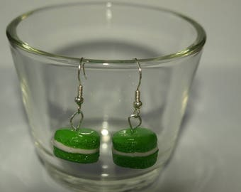 Earrings hand made cute macaroons with Apple