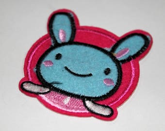 1 x badge embroidered - rabbit - kid baby - blue has Glue or sewing - sewing Customisation
