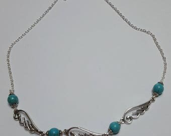 Turquoise beaded Angel Wings necklace