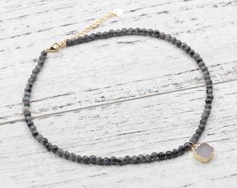 Labradorite Beaded Choker Necklace With Small Druzy Charm For Bridesmaids Jewelry Party Gift Natural Gemstone Necklaces