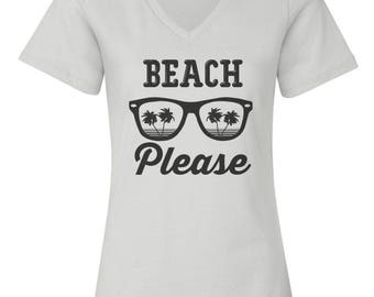 Beach Please Custom Women's Relaxed V Neck Fashion Fit Tee T-Shirt-White