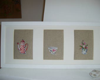 "Frame to decorate your kitchen ""Dishes Digoin"" embroidery hand made cross stitch"