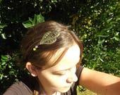 "headband /bijou de tête / serre tete , romantique , vintage , chic ""pastelia"" ,estampe,jade teinté jaune et rose"