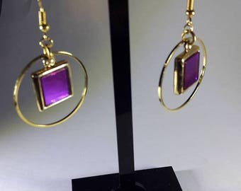 earrings with gold ring and charm 2 colored facets
