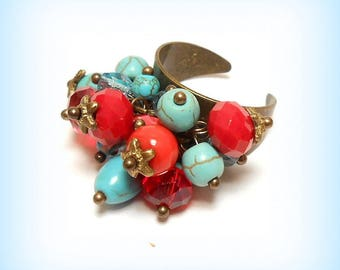 """Ring charms pearls """"Composition ethnic Turquoise"""""""