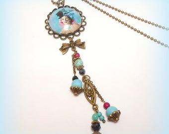 "Necklace glass Cabochon bronze ""Crazy Duchess"""