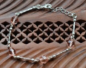 Crystal - salmon pink beads bracelet