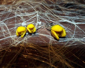 Set of dangling earrings + ring adjustable polymer clay yellow Tulip