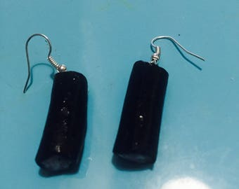 Earrings long in Fimo jewelry, gourmet licorice candy