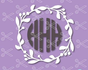 Wreath Monogram SVG, PNG, DXF, Eps Cutting Files, Wreath Monogram Frame, Floral Circle Monogram Wreath, leaf monogram svg, Flower Monogram