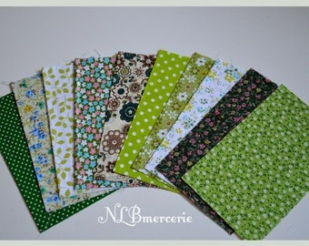 10 coupons fabric patchwork 26 x 20 cm