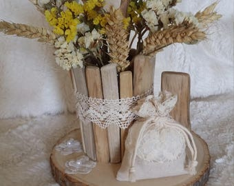 Driftwood and dried flowers vase
