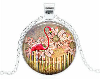 "Necklace""Flamingo Pink"" cabochon glass chain pendant"