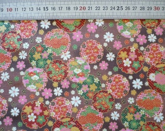 Fabric Japanese cherry blossoms sakura - rose gold red white green - brown background (Japan)