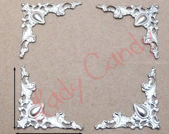 4 corners scalloped and chiseled silver #310116