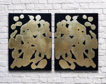 "RoR #6 Gold Leaf Rorschach Wall Art on Black Twin Canvas Set (12"" x 16"" each   total 24"" x 16"")"