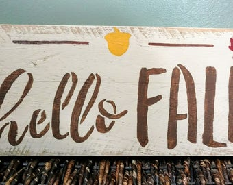 Pallet Wood Hello Fall Sign/ Farmhouse Decor/ Autumn Decor/ Rustic Decor/ Pallet Wood Decor/ Seasonal/ Hand Painted