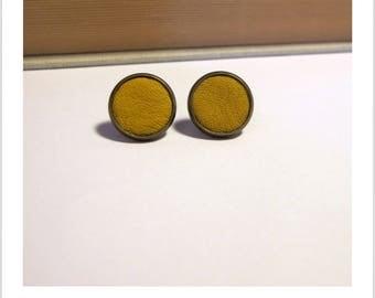 Stud Earrings fabric mustard yellow leather