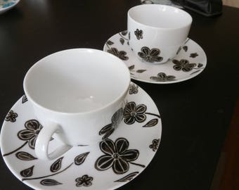 """tea cups or breakfast """"Manaé"""" unique black and white porcelain"""