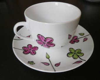 "Breakfast ""Manae"" pink & green unique painted porcelain cup"
