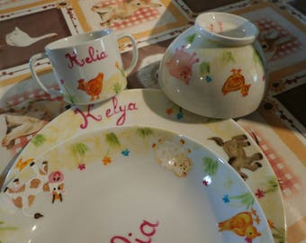 farm animals birth or baptism custom painted porcelain set