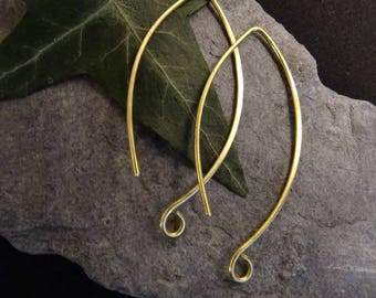 1 pair (2 pieces) 4.2 cmlongue earring hoop to add a stone or a brushed brass charm