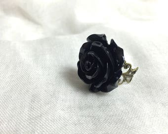 Bohemian black resin Rose Adjustable ring