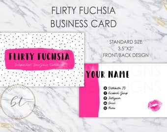 Lipsense Business Cards Flirty Fuchsia - lipsense distributor - makeup artist - polka dot