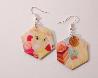 Hexagon Stud Earrings, rabbit and bird kawaii