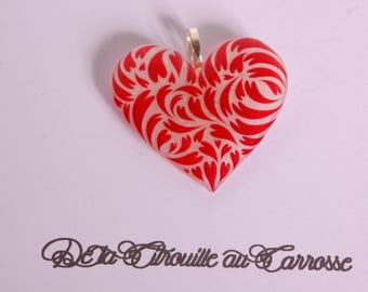 Red and white heart pendant
