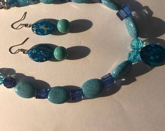 Blue Beaded Necklace  with Earring, finished with Silver Chain